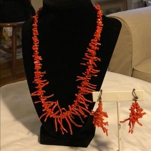 Coral colored sea coral necklace and earrings